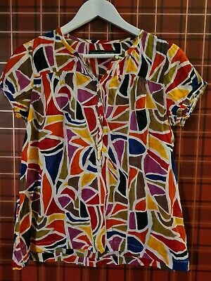 £2.80 • Buy Ladies Vintage French Connection Top Blouse 90s Y2K Size 14 Bright Bold