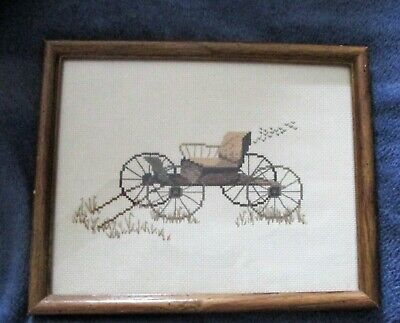 £7.21 • Buy Framed Finished Cross Stitch Old Horse Buggy, 8.5  By 11 .