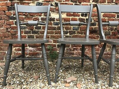 £40 • Buy 5 Beech Knife Back Kitchen Dining Chairs Painted With Little Green Paint