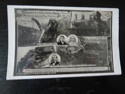 £5 • Buy Postcard Collision Of Great Emigrant Train At Woodhouse Junction Sheffield 1908