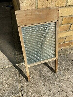 £40 • Buy Vintage Antique Wooden & Textured Glass Wash Board Kitchenalia Laundry Prop
