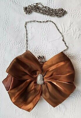 £16 • Buy CLAUDIA CANOVA Ladies Small Brown Satin Clutch Bag With Diamante Bow. Small.