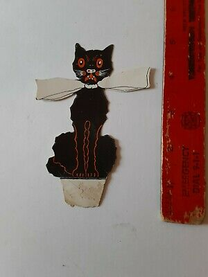 $ CDN15.03 • Buy Old Vintage Halloween Paperstock Black Cat Name Card Placecard Whitney 1920's Tl