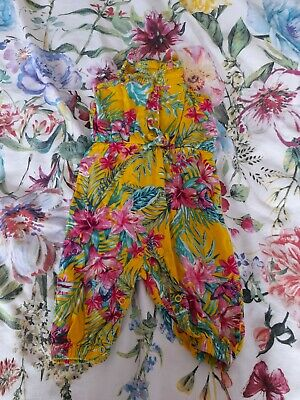£1 • Buy Baby Girls Yellow/pink Tropical Jumpsuit 6-9 Months