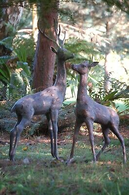 £620 • Buy Set Of Two Large Deers Garden Ornament Stag And Doe Cast Aluminium Bronze Effect