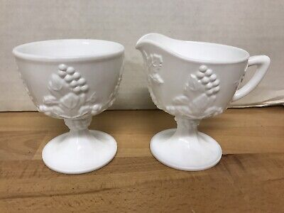 $12.99 • Buy Indiana Colony HARVEST White Milk Glass Grapes Footed Sugar Bowl Creamer Pitcher