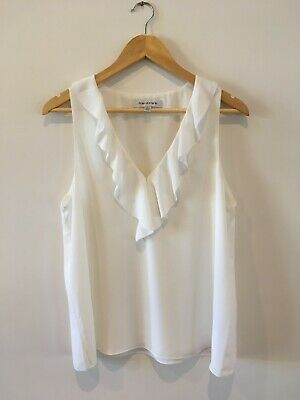 AU30 • Buy Forever New Size 12 M White Sleeveless Ruffle Blouse Top, Worn Once