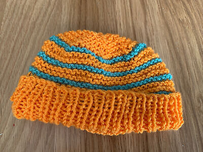£0.99 • Buy Hand Knitted Baby Hats - Orange And Teal Green