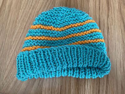 £0.99 • Buy Hand Knitted Baby Hats - Teal Green And Orange