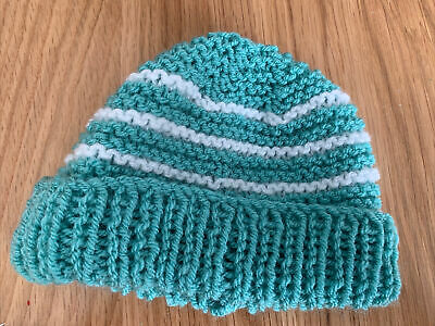 £0.99 • Buy Hand Knitted Baby Hats - Teal Green And White