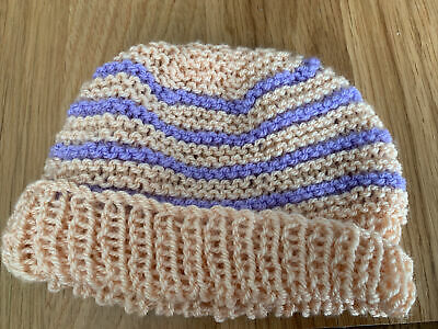 £0.99 • Buy Hand Knitted Baby Hats - Peach And Lilac