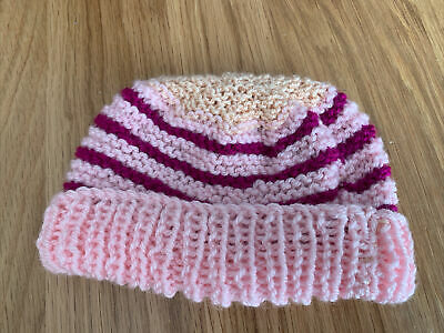 £0.99 • Buy Hand Knitted Baby Hats - Pink, Peach And Purple