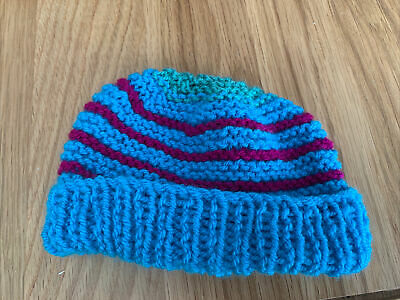 £0.99 • Buy Hand Knitted Baby Hats - Blue, Purple And Green