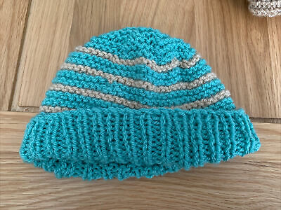£0.99 • Buy Hand Knitted Baby Hats - Teal Green And Peach
