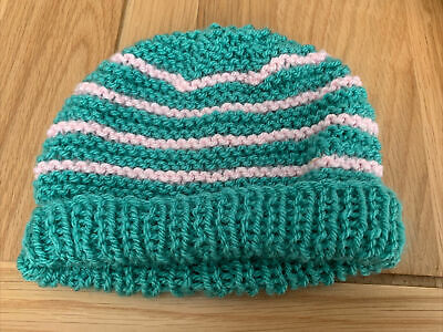 £0.99 • Buy Hand Knitted Baby Hats - Teal Green And Pink