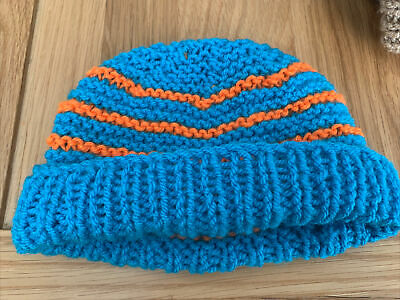 £0.99 • Buy Hand Knitted Baby Hats - Blue And Orange