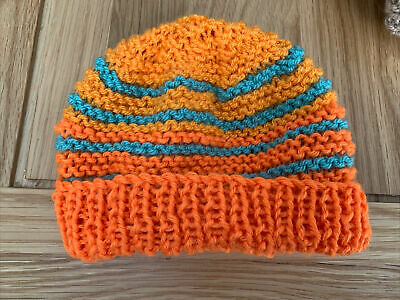 £0.99 • Buy Hand Knitted Baby Hats - Orange And Green