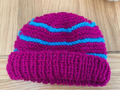 £0.99 • Buy Hand Knitted Baby Hats - Purple And Blue