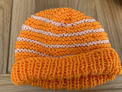 £0.99 • Buy Hand Knitted Baby Hats - Orange And Peach