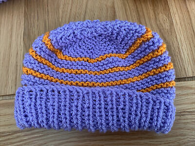 £0.99 • Buy Hand Knitted Baby Hats - Lilac And Orange