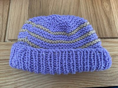 £0.99 • Buy Hand Knitted Baby Hats - Lilac And Tan