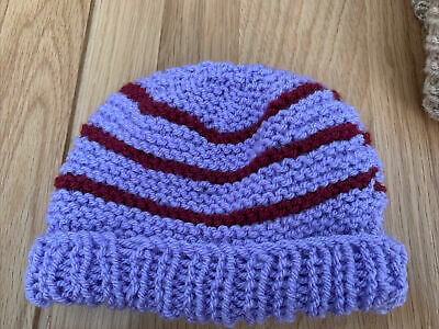 £0.99 • Buy Hand Knitted Baby Hats - Lilac And Burgandy