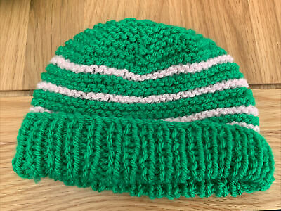 £0.99 • Buy Hand Knitted Baby Hats - Green And Pink