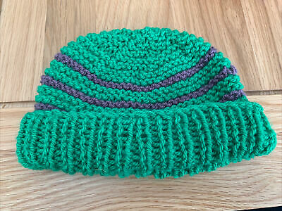 £0.99 • Buy Hand Knitted Baby Hats - Green And Purple