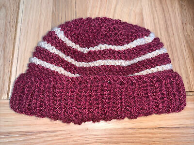 £0.99 • Buy Hand Knitted Baby Hats - Burgundy And Tan