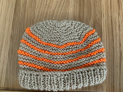 £0.99 • Buy Hand Knitted Baby Hats - Tan And Orange
