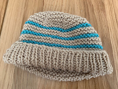 £0.99 • Buy Hand Knitted Baby Hats - Tan And Teal Green
