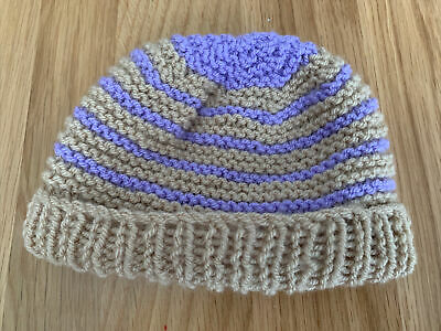 £0.99 • Buy Hand Knitted Baby Hats - Tan And Lilac With Lilac Top