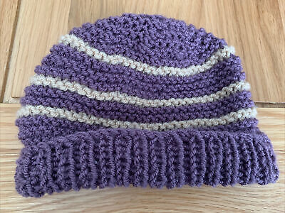 £0.99 • Buy Hand Knitted Baby Hats - Purple And Tan