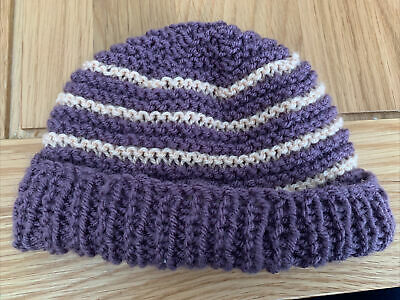 £0.99 • Buy Hand Knitted Baby Hats - Purple And Peach