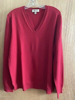 $29 • Buy Burberry 100% Cotton  Check Elbow V Neck Sweater Size XXL