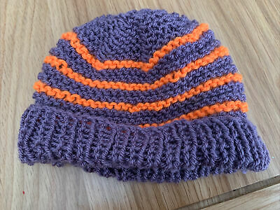 £0.99 • Buy Hand Knitted Baby Hats - Purple And Orange