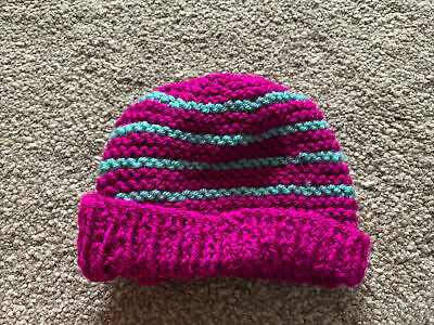 £0.99 • Buy Hand Knitted Baby Hats - Purple And Teal Green