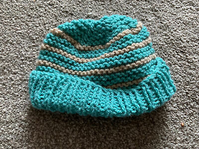 £0.99 • Buy Hand Knitted Baby Hats - Green And Light Brown