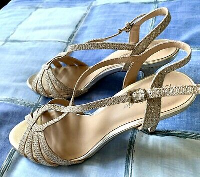 £6.95 • Buy Ladies Glittery Gold Evening Sandals By Roland Cartier - Size 5