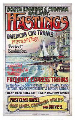 £16.95 • Buy Vintage Hastings Art Print Railway Travel Poster A1/A2/A3/A4