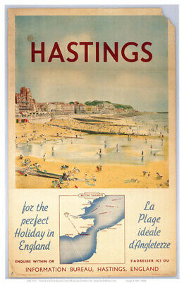 £3.95 • Buy Vintage Hastings Art Print Railway Travel Poster A1/A2/A3/A4!