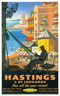 £5.95 • Buy Vintage Hastings Fisherman Art Print Railway Travel Poster A1/A2/A3/A4!