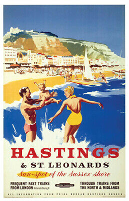 £5.95 • Buy Vintage Hastings Sea Art Print Railway Travel Poster A1/A2/A3/A4!
