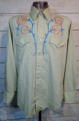$24 • Buy Vintage Champion Cowboy Western Rockabilly Snap Shirt L Floral Embroidered Usa
