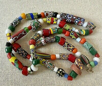 $149.99 • Buy Vintage Murano Millefiori Venetian Art Glass Trade Bead End Of Day Necklace 31