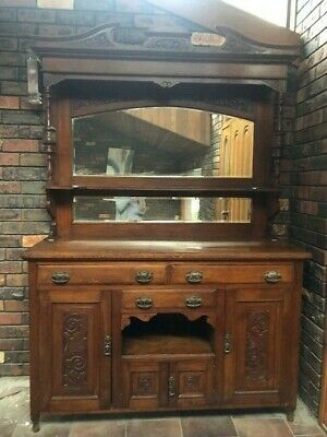 AU500 • Buy Antique / Vintage Sideboard Or Buffet And Hutch - Needs To Go!