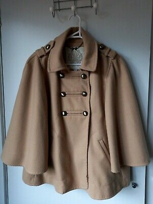 AU25 • Buy Forever New Size 12 Tan Camel Cape Coat Military Style