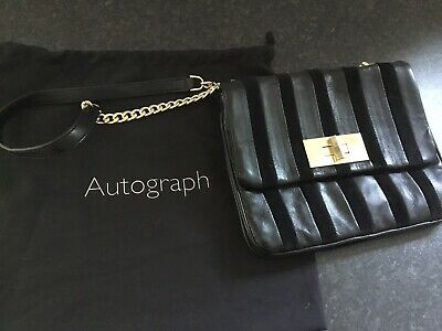 £30 • Buy Lovely New M&S Autograph Black Leather And Suede Shoulder Bag
