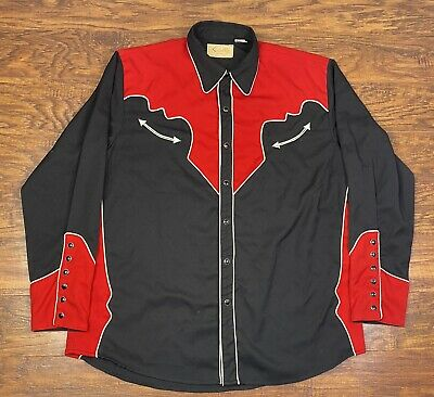 $39.95 • Buy Scully Western Pearl Snap Shirt Embroidered Mens Large Red/black W2