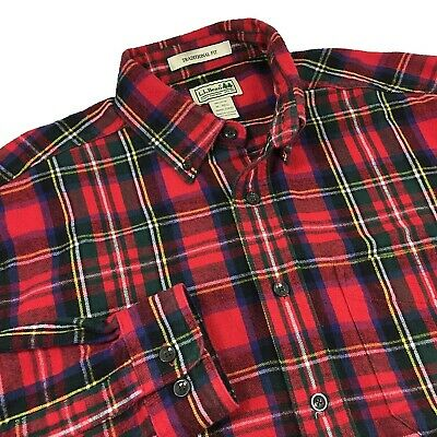 $19.99 • Buy LL Bean Mens Super Soft Flannel Shirt Size M Traditional Fit Red Plaid